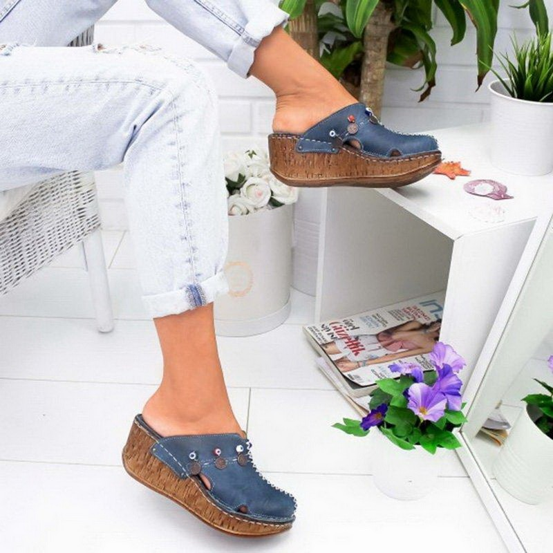 SHUJIN Women Sandals Summer Ladies Girls Ankle Hollow Round Toe Sandals Female Soft Beach Sole Shoes Plus Size High Heels
