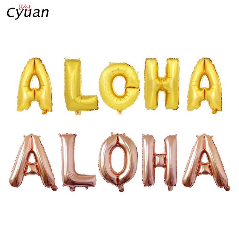 Cyuan letnie przyjęcie hawajskie wystrój złoty Aloha Banner z balonów foliowych tło tropikalne Luau Party trznadel girlandy dla dzieci Party