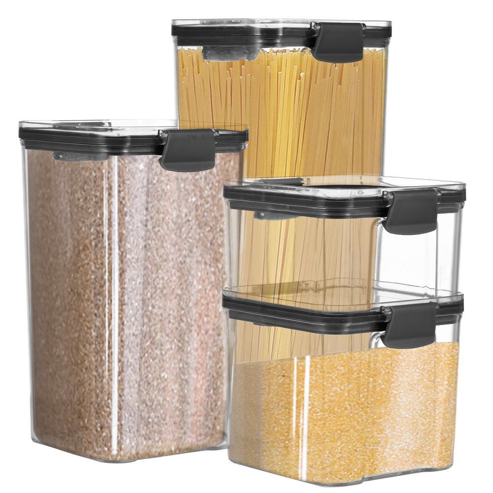 4 قطعة حاويات تخزين الطعام المعكرونة الدقيق السكر و المعكرونة المطبخ التخزين المنظم محكم الحبوب صندوق تخزين للمطبخ