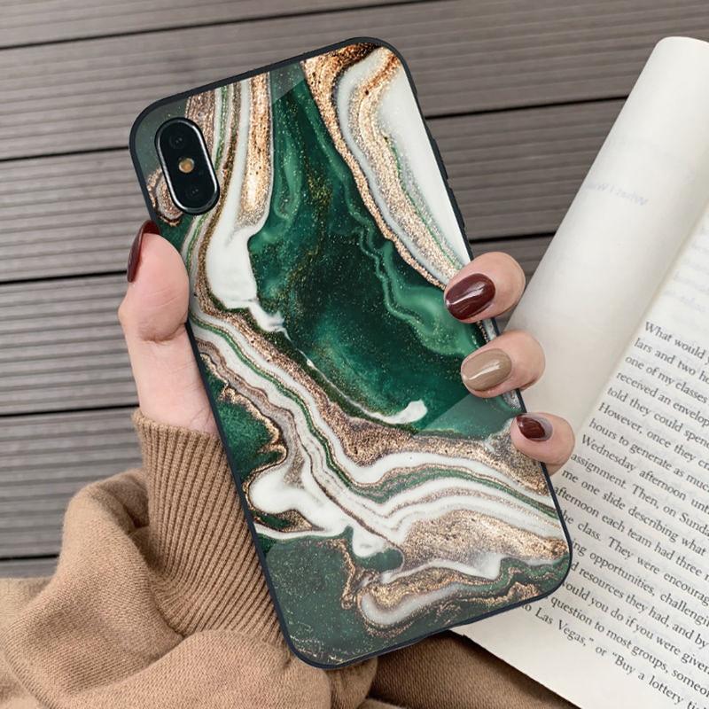 Moda artística ágata mármore vidro caso de telefone para iphone 6s 7 8 plus coque temperado vidro capa para iphone x xs max xr