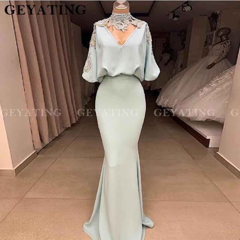 Cuello árabe alto sirena vestido de noche con media manga Dubai de cristal de lujo con cuentas largo vestidos formales 2020 mujeres vestidos de fiesta