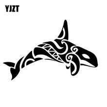 YJZT 12CM*18.5CM Beautiful Killer Whale Decal Family Car Body Dress Up Car Stickers Black/Silver C30-0197