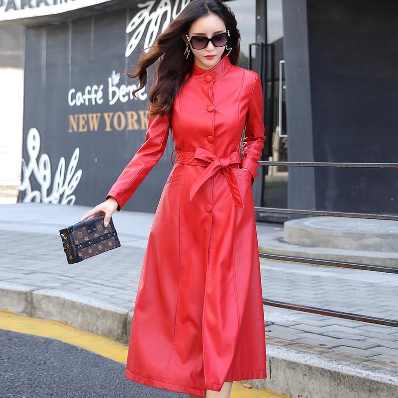 Fashion Autumn X-Long Womens Black Leather Jacket Winter Plus Size 5XL Single Breasted Slim Faux Leather Coat Female Windbreaker enlarge