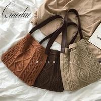 Qiaoduo Female Woolen Knitted Braid Criss Cross Handbag Teenager Crochet Winter Fashion Retro Chic Big Capacity Shoulder Bag