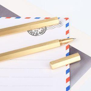 Шестиугольник 0,5 мм гелевая ручка ручной работы латунная шариковая ручка с жидкими чернилами Шариковая ручка классический null