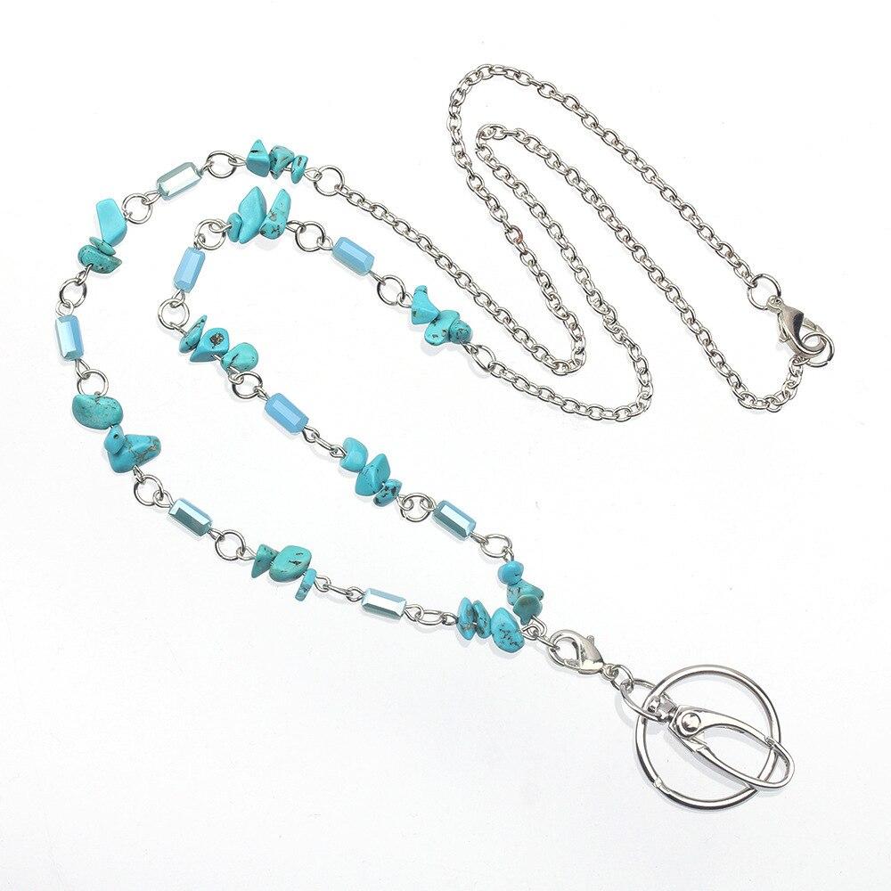 Светильник-голубой шнурок с бусинами, цепочка, ожерелье, шнурок из нержавеющей стали, кольцо для ключей для девочек и женщин