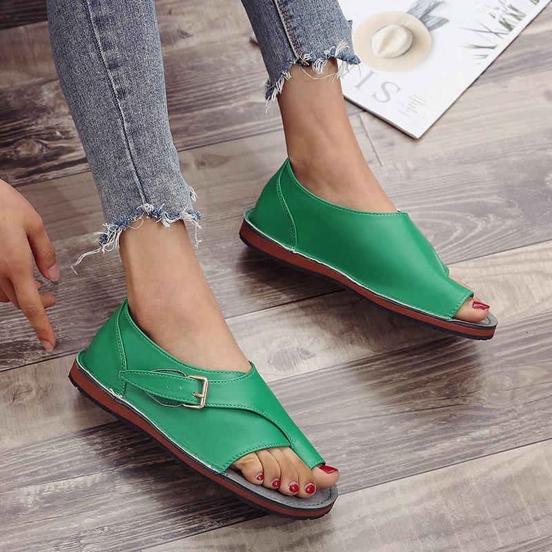 Roman Sandals Ladies PU Leather Fashion Open Toe Buckle Design New Flat Shoes Summer Beach
