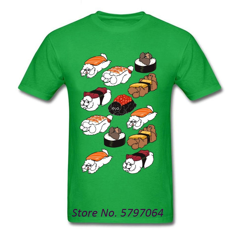 Kawaii Sushi Poodle camiseta de hombre negro camiseta ropa camiseta de dibujos animados Tops lindo Tees novio de algodón regalo Drop Shipping
