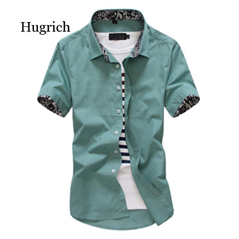 Fashion Men Solid Shirts Short Sleeve Turn-down Collar Dress Shirt Casual Business Work Male Slim Fit