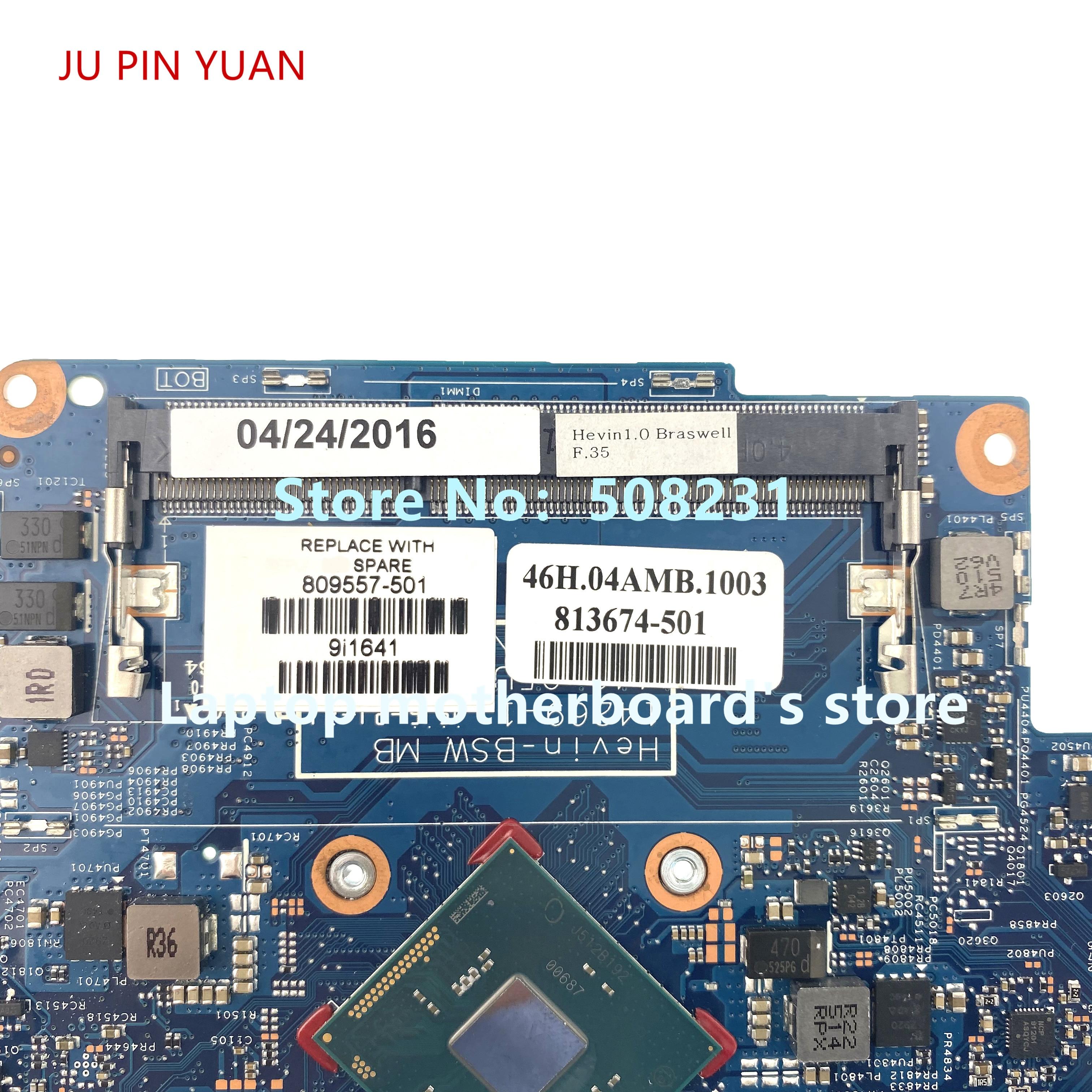 JU PIN YUAN 809557-501 809557-001 For HP بافيليون X360 11T-K 11-K 110 Series لوحة أم للكمبيوتر المحمول مع N3050 100% تم اختبارها بالكامل