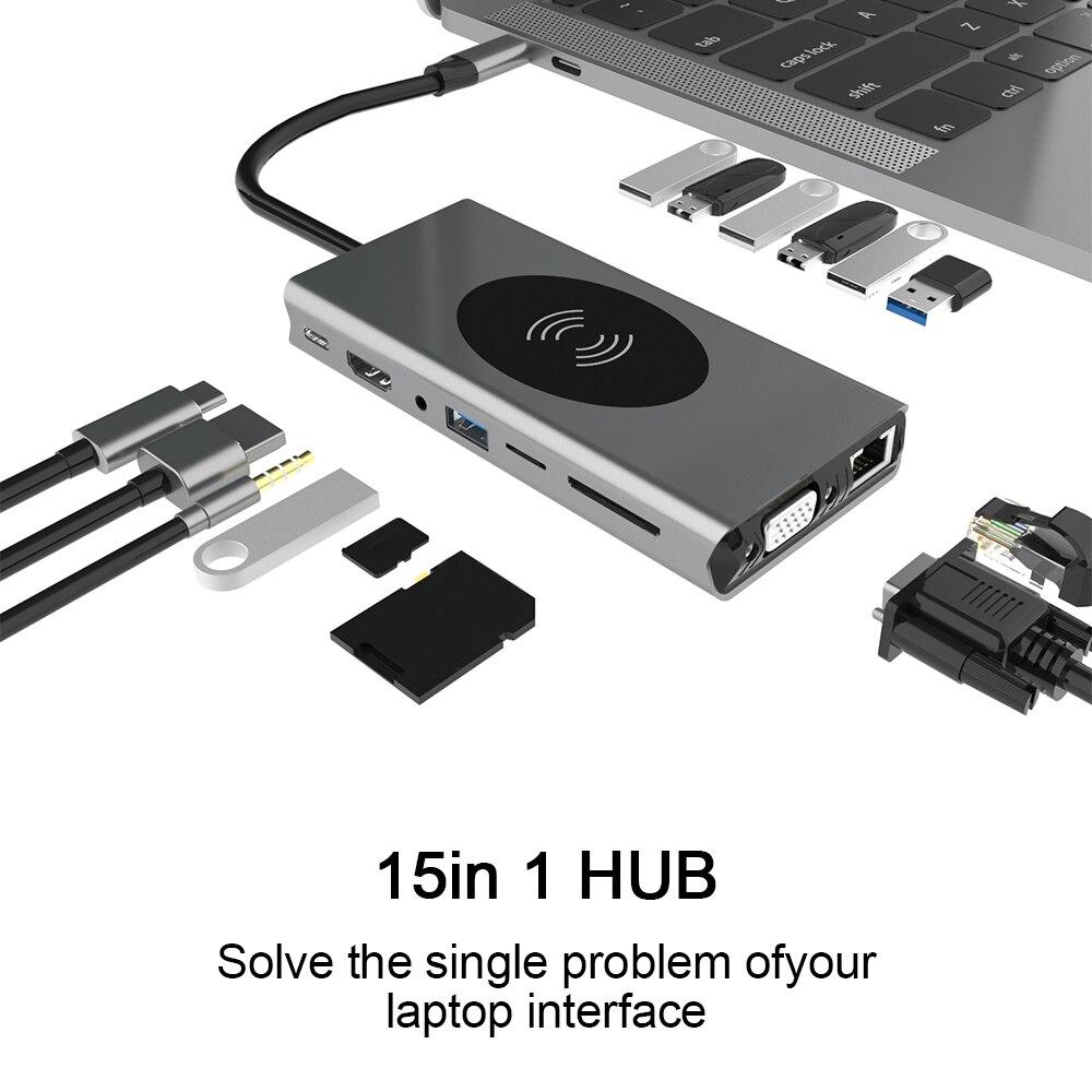 BX15W 15 In1 نوع C Hub 4K 1080P HDMI-متوافق + VGA لاسلكي USB Hub دعم SD/TF للهاتف أندرويد الكمبيوتر