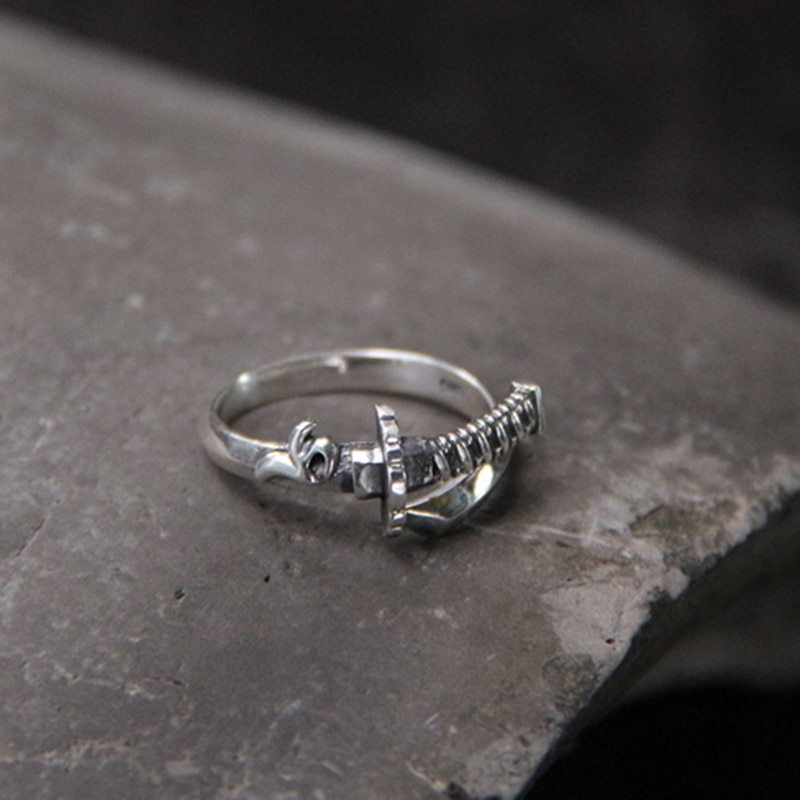 Silver 925 Jewelry Retro Ring and Sword Patterns Thai Silver Ring Individual Samurai Sword Thai Silver Men and Women Rings  - buy with discount