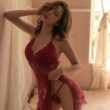 Miss Zia Lingerie Femme Lace Nightgowns Sleeping Dress With Thongs Thin Sleepwear Homewear Sexy Inti