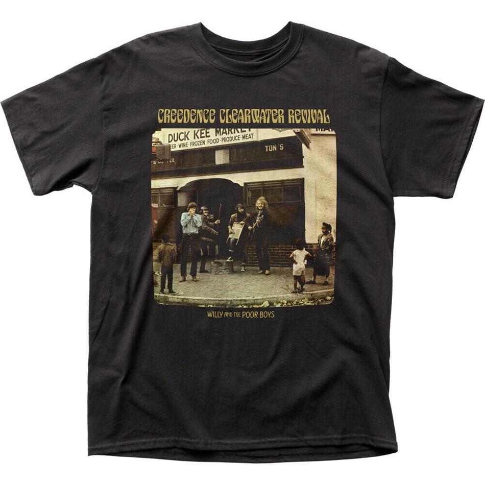 Creedence clearwater revival pobres meninos t camisa dos homens licenciado rock n rolo preto engraçado design topos camiseta