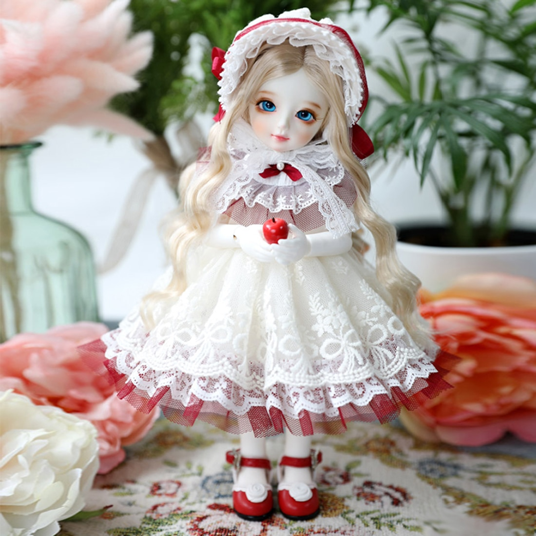Conjunto de 3 muñecas, accesorios, capota roja, conjunto de ropa para 1/3 1/4 1/6, muñecas BJD, sin muñeca