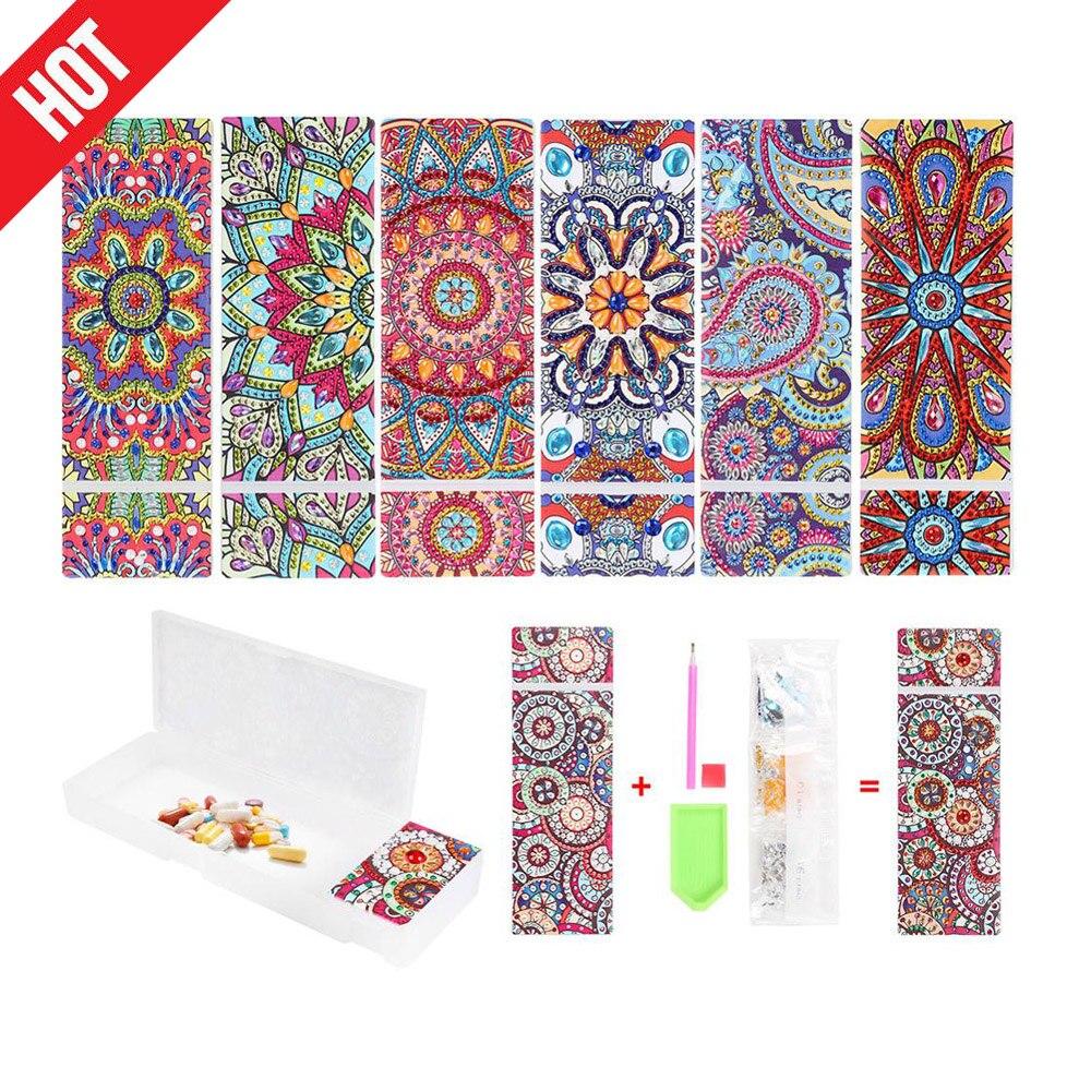 Diy mandala especial em forma de diamante pintura lápis caso 2 grades papelaria caixa de armazenamento jóias diamante bordado presente das crianças