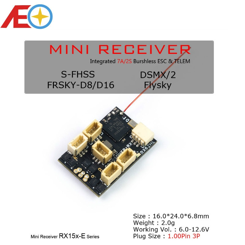 AEORC RX15X-E سلسلة البسيطة مايكرو RX 7CH استقبال المتكاملة 2S 7A فرش ESC مع تيلم 1.00pin موصل التوصيل