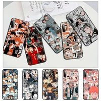 haikyuu japan anime volleyball black cell phone case for huawei y6 y7 y9 prime 2019 y9s mate 10 20 40 pro lite nova 5t cover