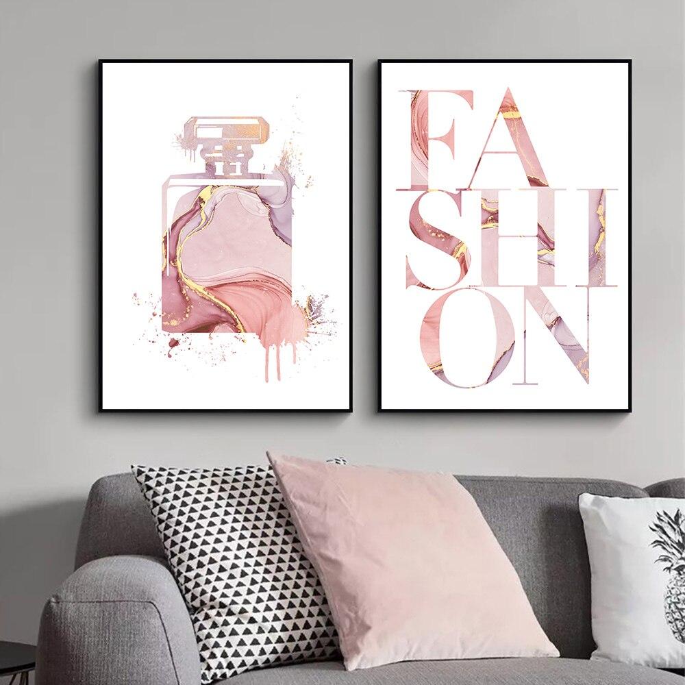 Lienzo abstracto pintura pared arte Perfume impresión pintura citas cartel impresión acuarela pared imagen para decoración de dormitorio