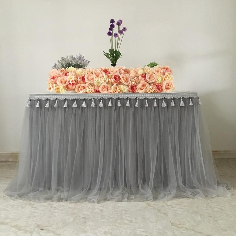 تنورة طاولة من القماش الشاش ، زينة الزفاف ، حفلة عيد ميلاد ، مأدبة ، مريلة ، منفوشة ، قابلة للتخصيص