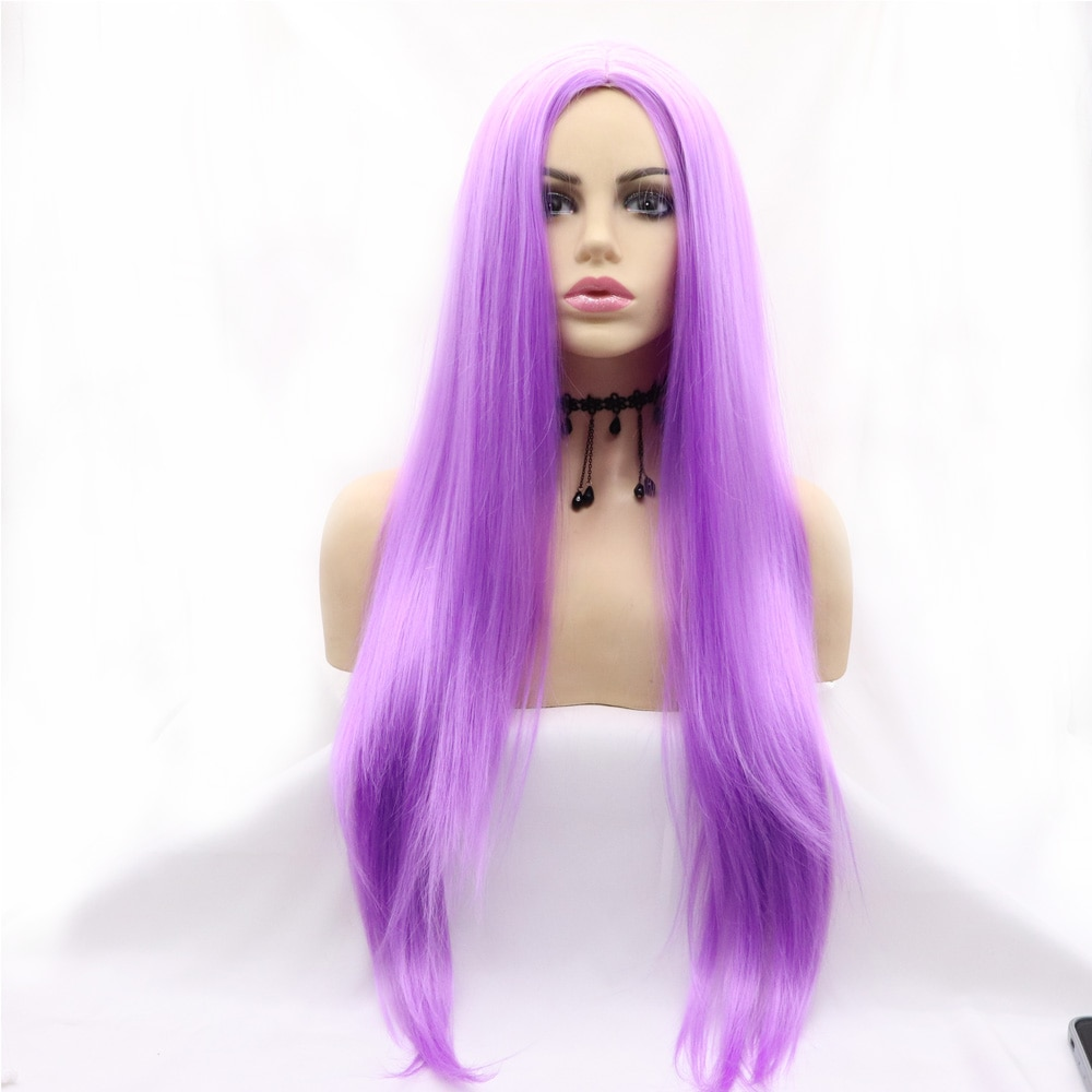 Full Machine Made Long Straight Candy Purple One-time Synthetic Wig Heat Resistant Fiber Hair for Women Cosplay Makeup Party