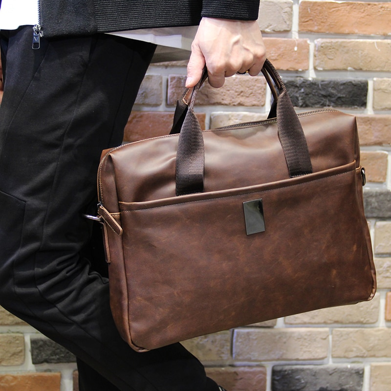 Bolso de mano de cuero de Caballo Loco clásico Tidog, maletín de negocios para hombre