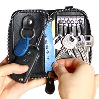 men leather key bag zipper multi functional car key business car key bag