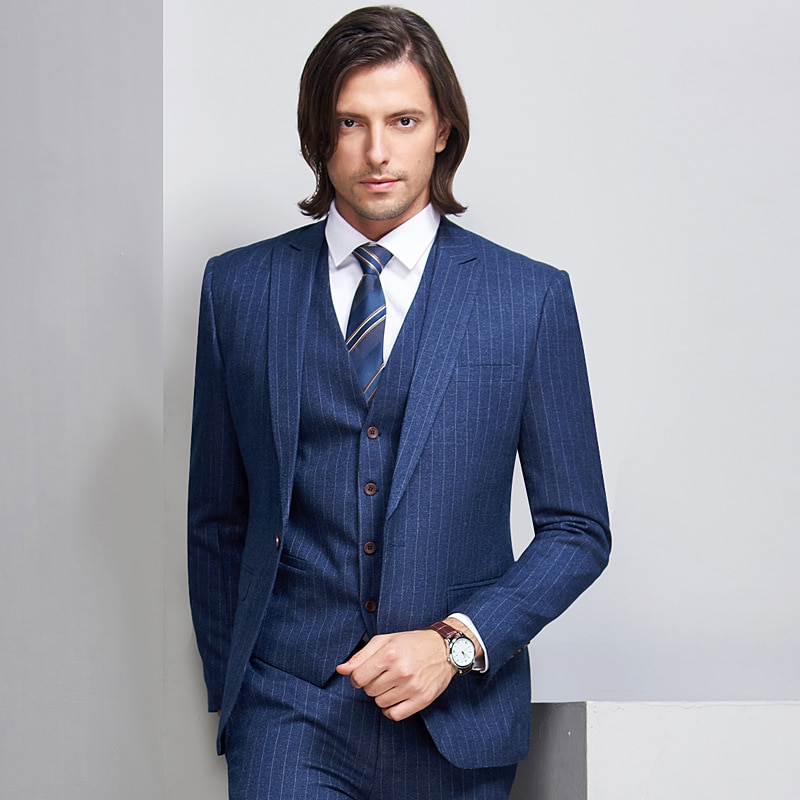 Traje para padrinos de boda, esmoquin con solapa para novio, trajes a rayas 2019 para hombre, chaqueta de padrino para boda, chaqueta, pantalones, chaleco