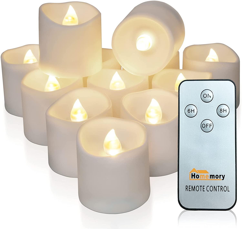 Беспламенные светодиодсветодиодный голосовые свечи с дистанционным управлением Homemory, 12 шт. в упаковке, долговечные Чайные свечи на батарей...