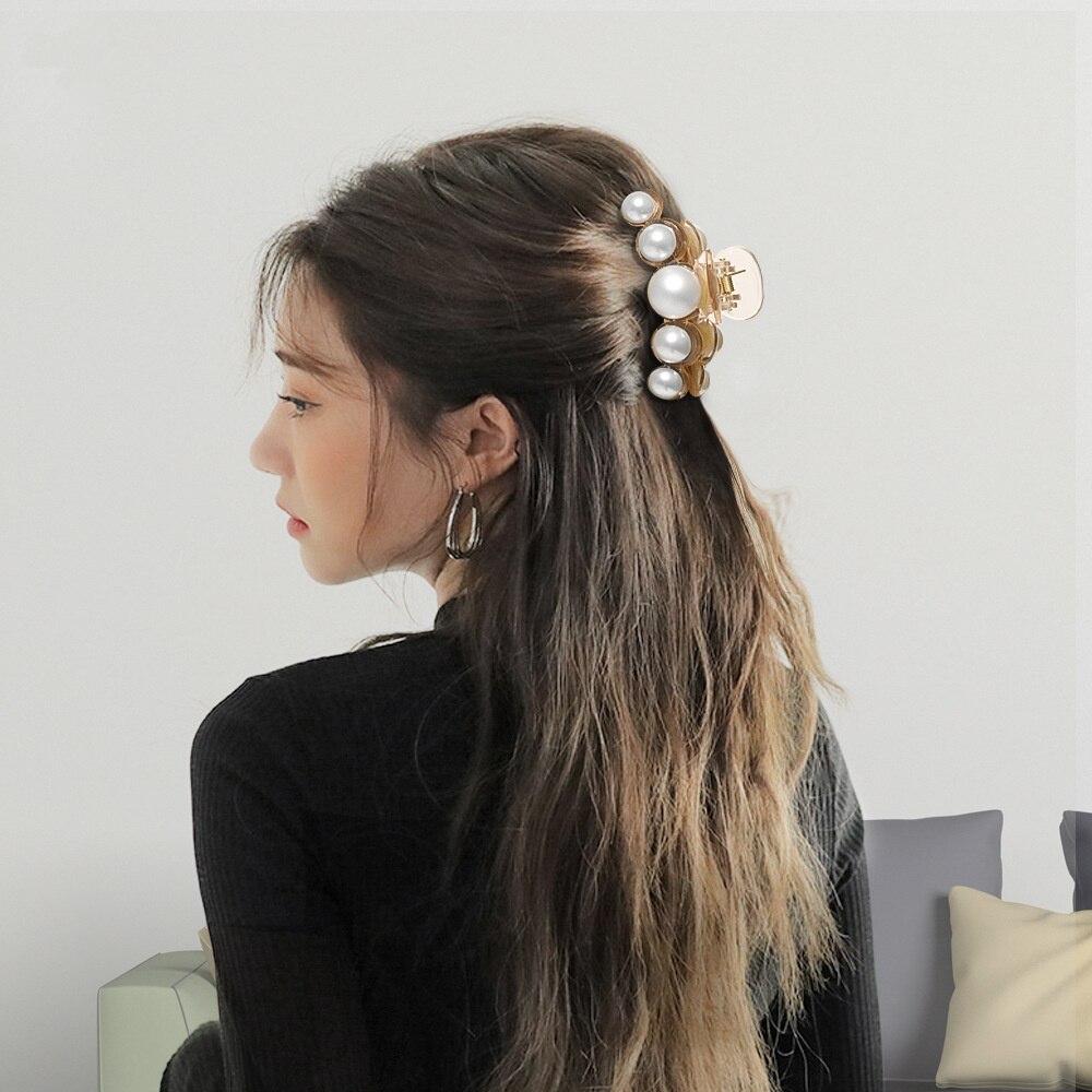 Cleme acrilice pentru gheare de păr de dimensiuni mari, cu perle - Accesorii pentru haine - Fotografie 5