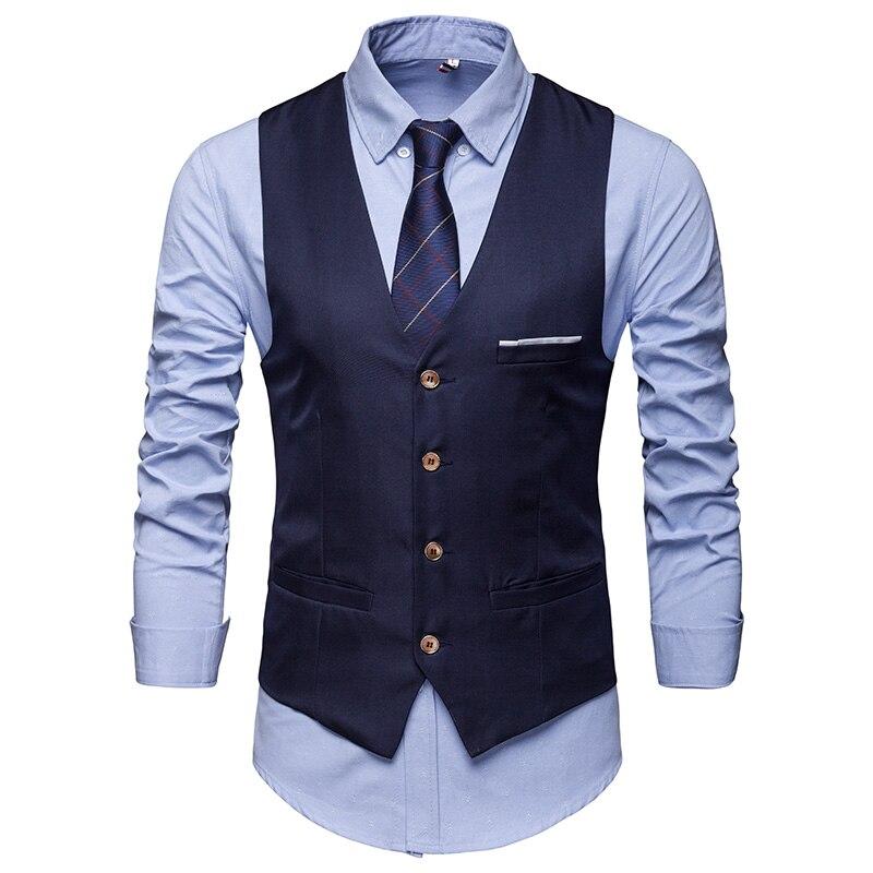 Новинка 2021, модный мужской бутик, хлопковый модный однотонный повседневный костюм, жилет, мужской черный, серый официальный деловой жилет, с...