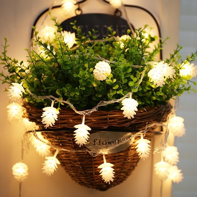 String Lights LED Christmas Pine Cone Light Curtain Light Indoor Bedroom Outdoor Windows Christmas Tree Decoration Lighting Lamp