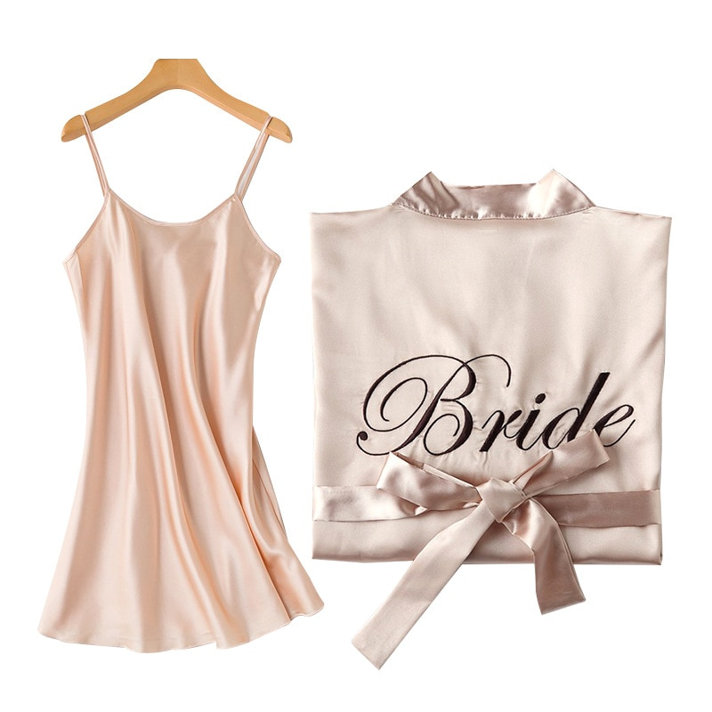 1PC/2PCS bride bridesmaid Robe with letters sling cami dress mother sister of the bride wedding gift