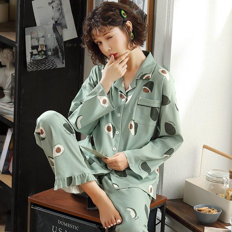 JULY'S SONG-طقم بيجامة نسائي بطبعة الأفوكادو ، 2020 ، أكمام طويلة ، ياقة مقلوبة ، قميص ، بنطلون ، ملابس منزلية ، ملابس نوم مرقعة لطيفة