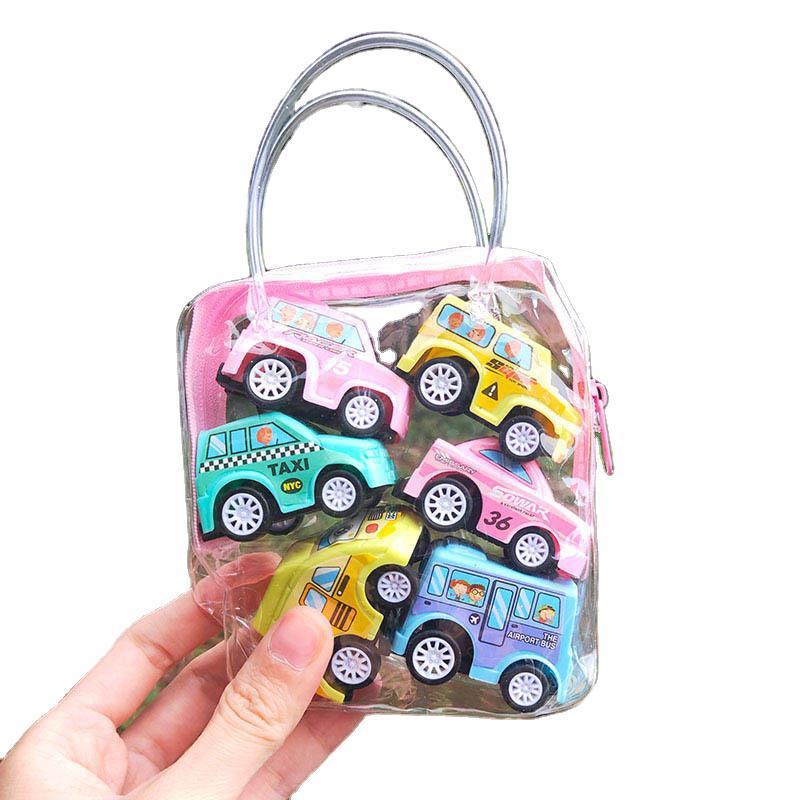 6 шт./пакет, мини-автомобиль, игрушки, мобильная техника, магазин, строительная машина, пожарная машина, такси, модель, детские мини-машины, По...