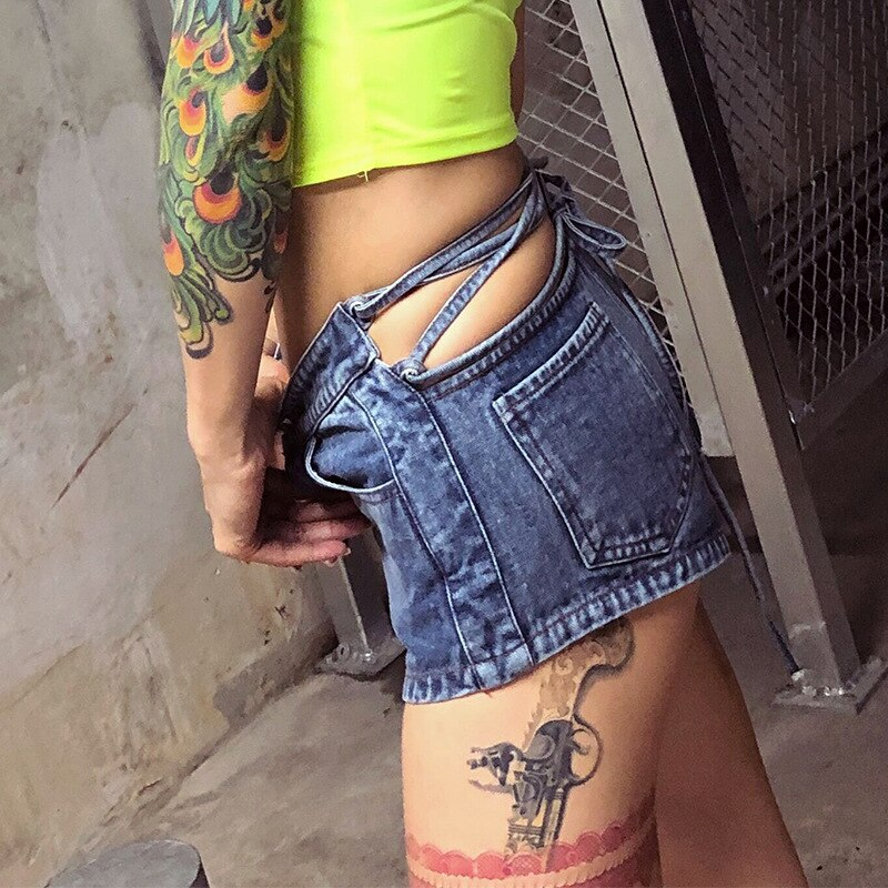 Denim Hot Pants Women's Fashion Brand 2021 Fall Slim Fit Women's Personality Fashion Ins High Waist Hollow Out Lace Up Shorts