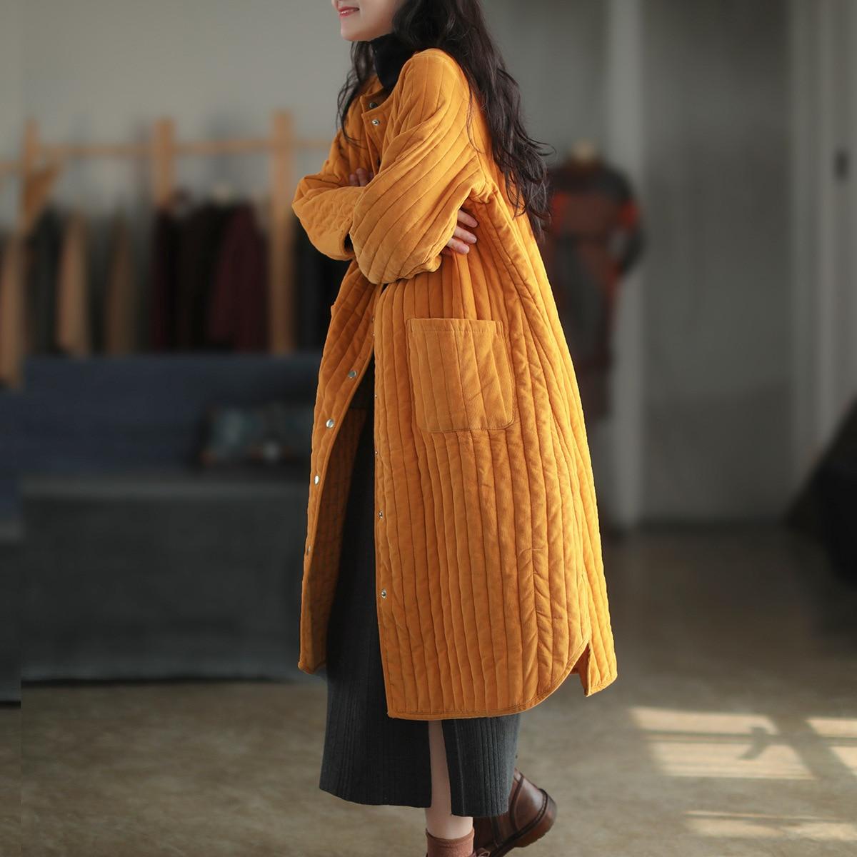 معطف شتوي للنساء, طويل ودافئ من القطن سروال قصير