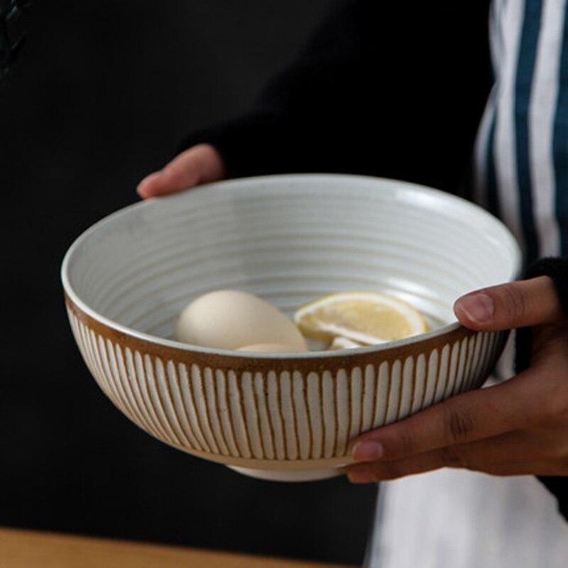 طويل القامة خمر الحنين وعاء شوربة النودلز اليابان المستوردة الطين مكافحة السمط سميكة منحوتة الملمس السلطانية