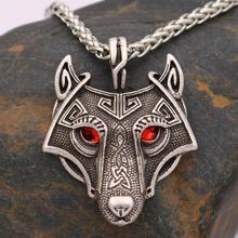 Nostalgie noir rouge vert cristal yeux Viking ado loup collier nordiques Vikings pendentif tête de loup gothique bijoux amulette Talisman