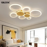 new gold iron acrylic led chandelier lighting for living study room bedroom creative circle lights indoor lamp dimmable fixtures