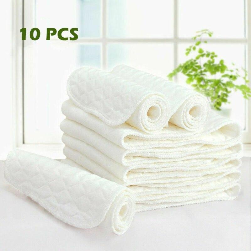10 Uds nuevo reutilizable bebé pañal de tela moderna forro protector para pañales 3 capas de algodón