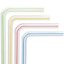 300 paquet pailles jetables pailles en plastique flexibles rayé multicolore arc-en-ciel pailles à boire Bendy paille barre accessoires outils