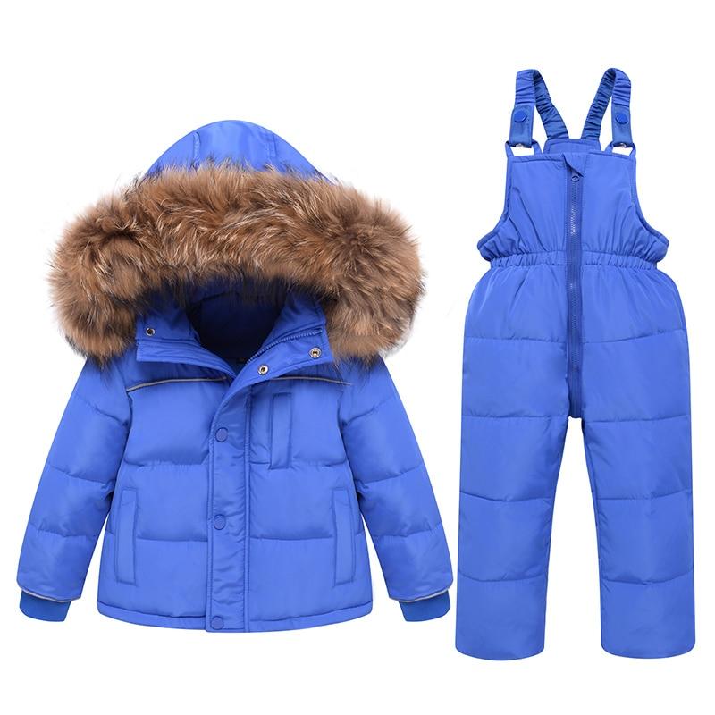مجموعة ملابس الأطفال الشتوية-30 درجة أسفل سترة الطفل معطف + بنطلون طفلة بدلة تزلج الأولاد ملابس الاطفال طفل بذلة