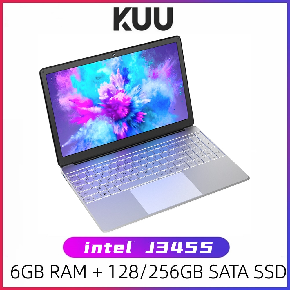 Review KUU A8S 15.6 inch Student Laptop 6GB RAM 256GB SSD Notebook For intel J3455 Quad Core Ultrabook With Webcam Bluetooth WiFi
