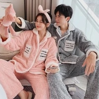 plush couples pajamas thickened warm mens and womens cardigan fashion trend home wear suit winter coral velvet couple clothes