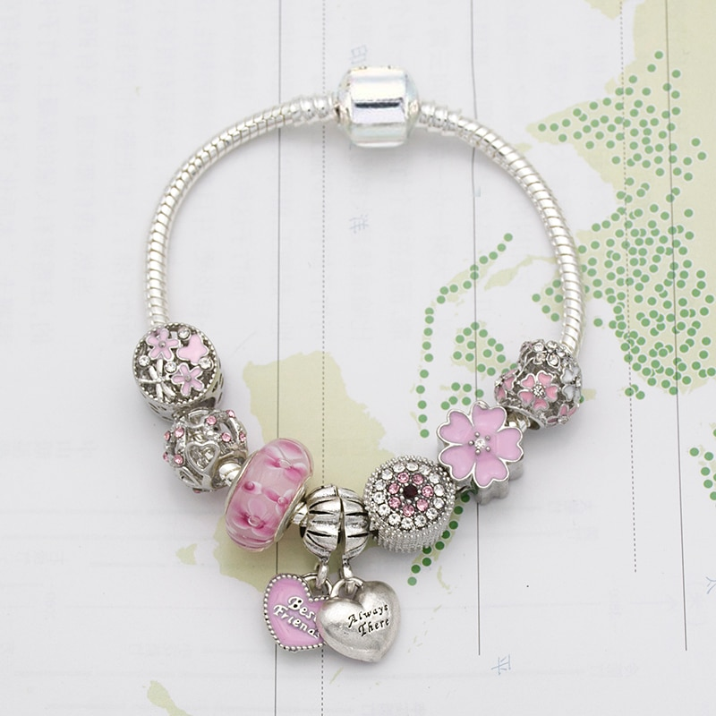 الزهور الوردي الحب قلادة سوار خرزة ساحرة لتقوم بها بنفسك سلسلة من الخرز
