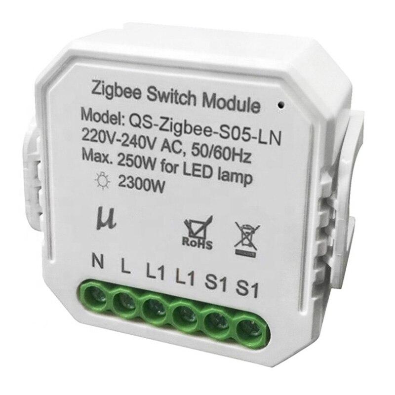 وحدة التبديل الذكية Zigbee مع مفتاح إضاءة لاسلكي محايد ، مرحل Tuya Smart Life ، التحكم في تطبيق Google Home Alexa