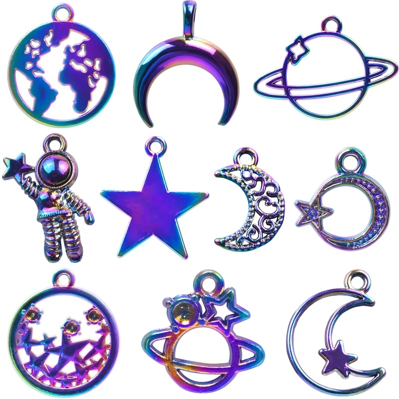 AliExpress - Mix Rainbow Moon Charms For Jewelry Making Supplies Pentagram Charm Pendant Planet Handmade Craft Women Men Accessories Necklace