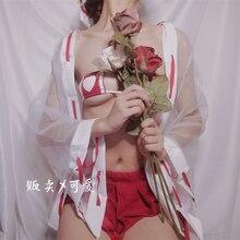 Femmes Anime psychique Cosplay Costumes japonais Kimono sorcière uniforme Sexy Bikini Lingerie ensemble Halloween Costumes Babydoll