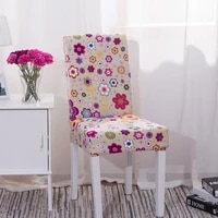 high quality pink cartoon flowers print elastic chair removable washable seat cover for dining room home decoration